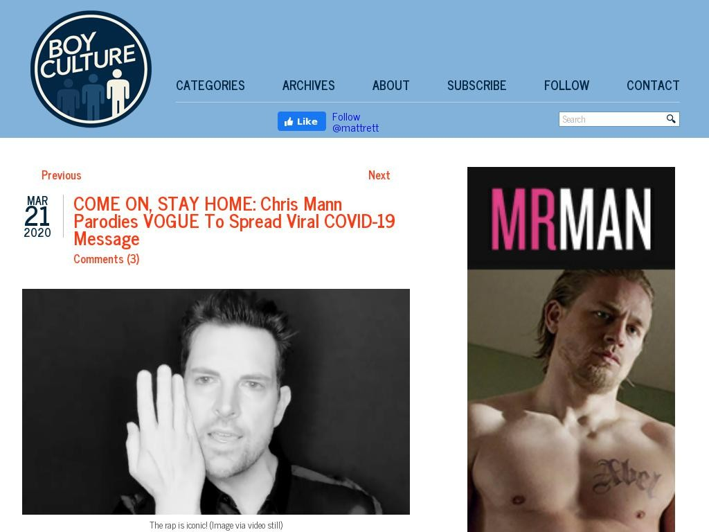 COME ON, STAY HOME: Chris Mann Parodies VOGUE To Spread Viral COVID-19 Message